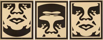 Shepard Fairey-Andre The Giant Triptych (Cream)-2013