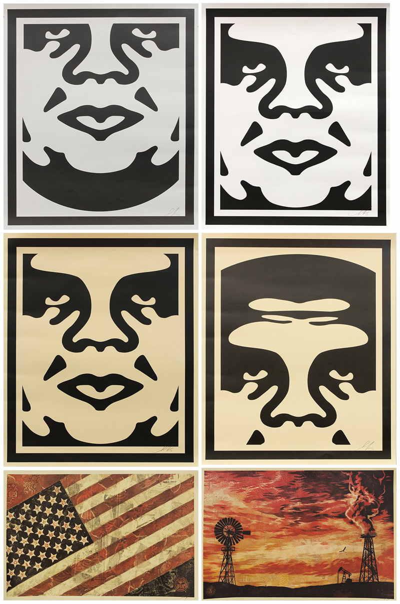 Shepard Fairey-Andre the Giant Face (4), Flag, Evolve Devolve-