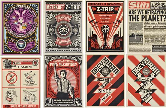 Shepard Fairey-Coachella Festival, Paul McCartney, Sticker Kit, Does She Look Down, Love and others-