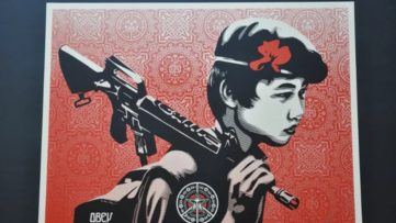 Shepard Fairey - Duality of Humanity 1 - 5. Courtesy of Art is Just a Four Letter Word Gallery