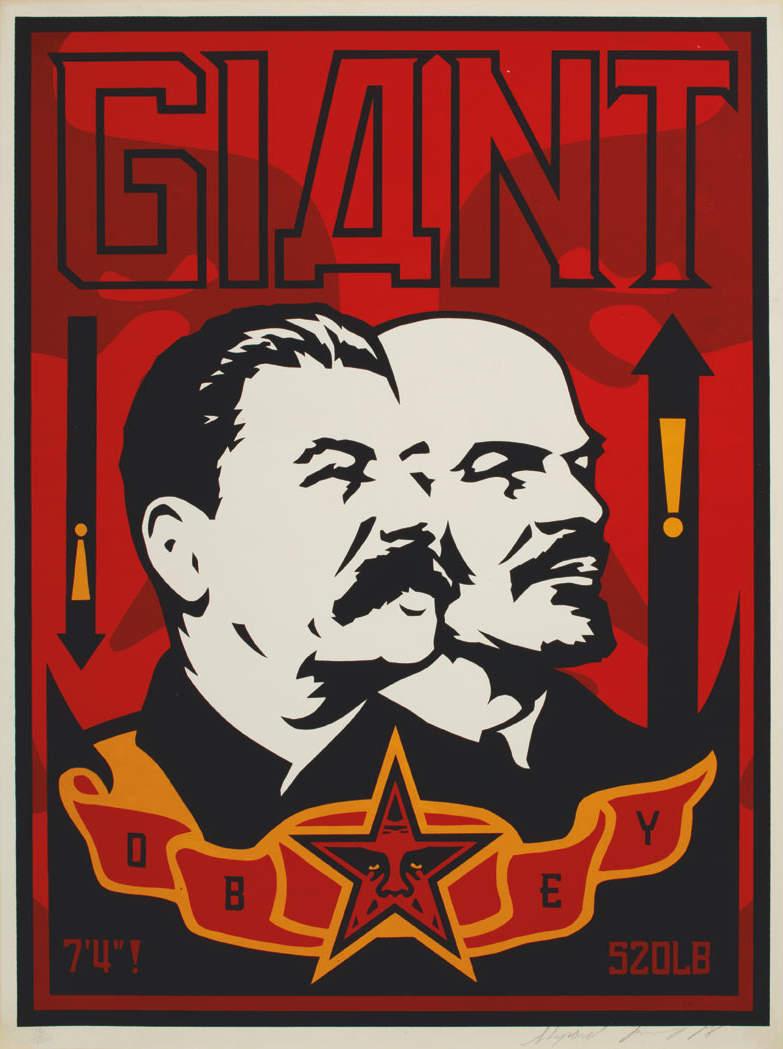 Shepard Fairey-Giant Stalin Lenin-1998