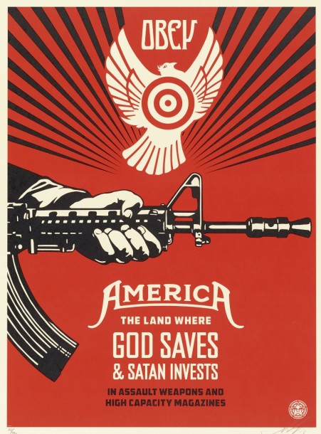 Shepard Fairey-God Saves & Satan Invests-2013