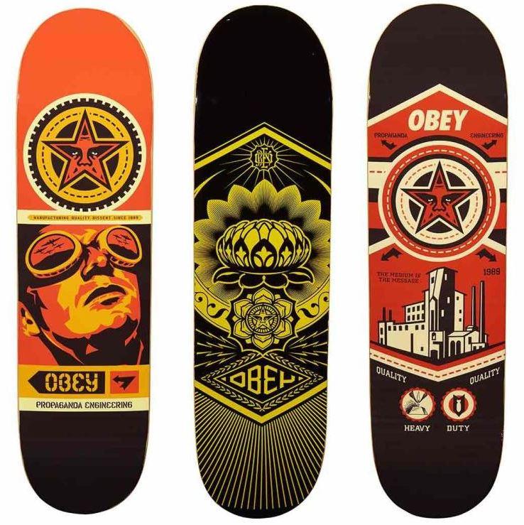 Shepard Fairey-Group Of Three Skateboard Decks-