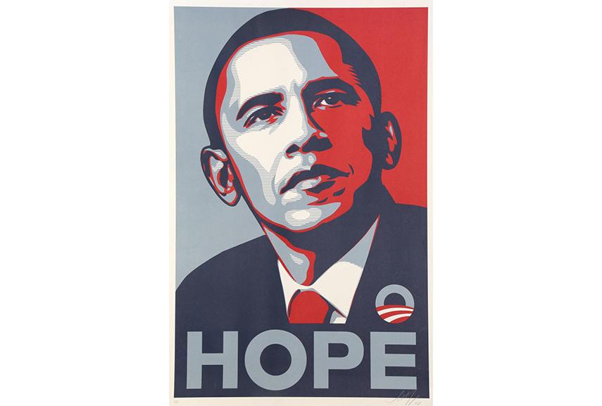 Shepard Fairey's Hope screen printing