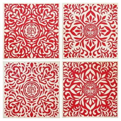 Shepard Fairey-Japanese Fabric Pattern, Red-2009