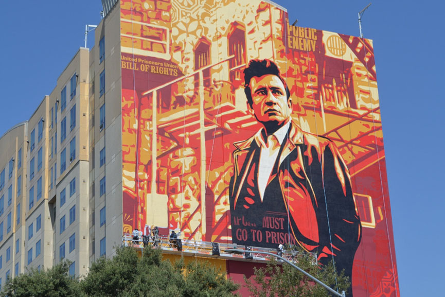 Shepard Fairey Johnny Cash Mural