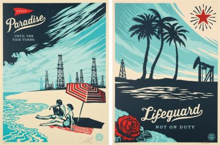 Shepard Fairey-Lifeguard Not on Duty/Paradise Until the Tide Turns-2014