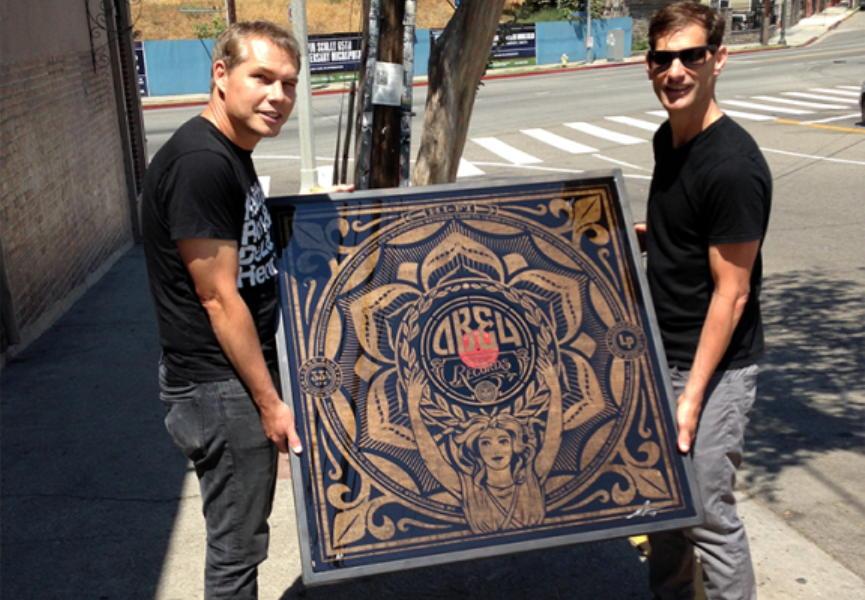 Shepard Fairey creates Prints on Wood