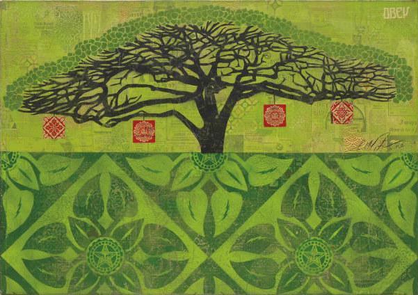 Shepard Fairey-Monkey Pod (Green)-2009