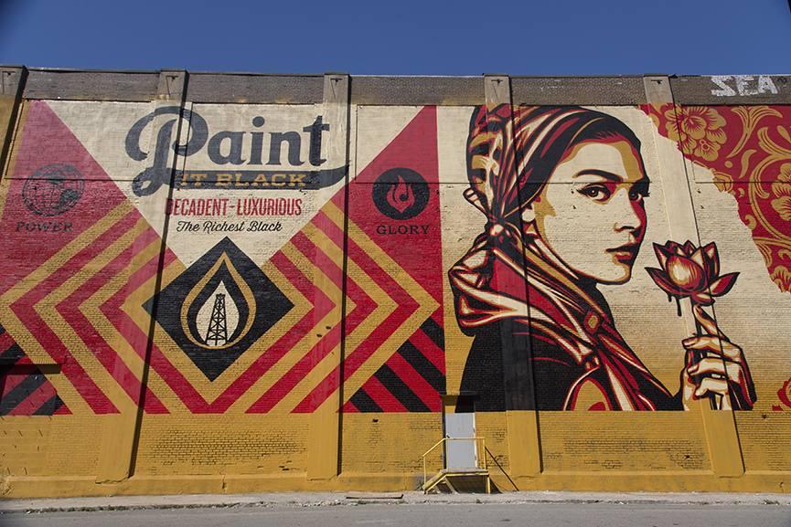 Shepard Fairey widest mural mana contemporary largest detroit date detroit