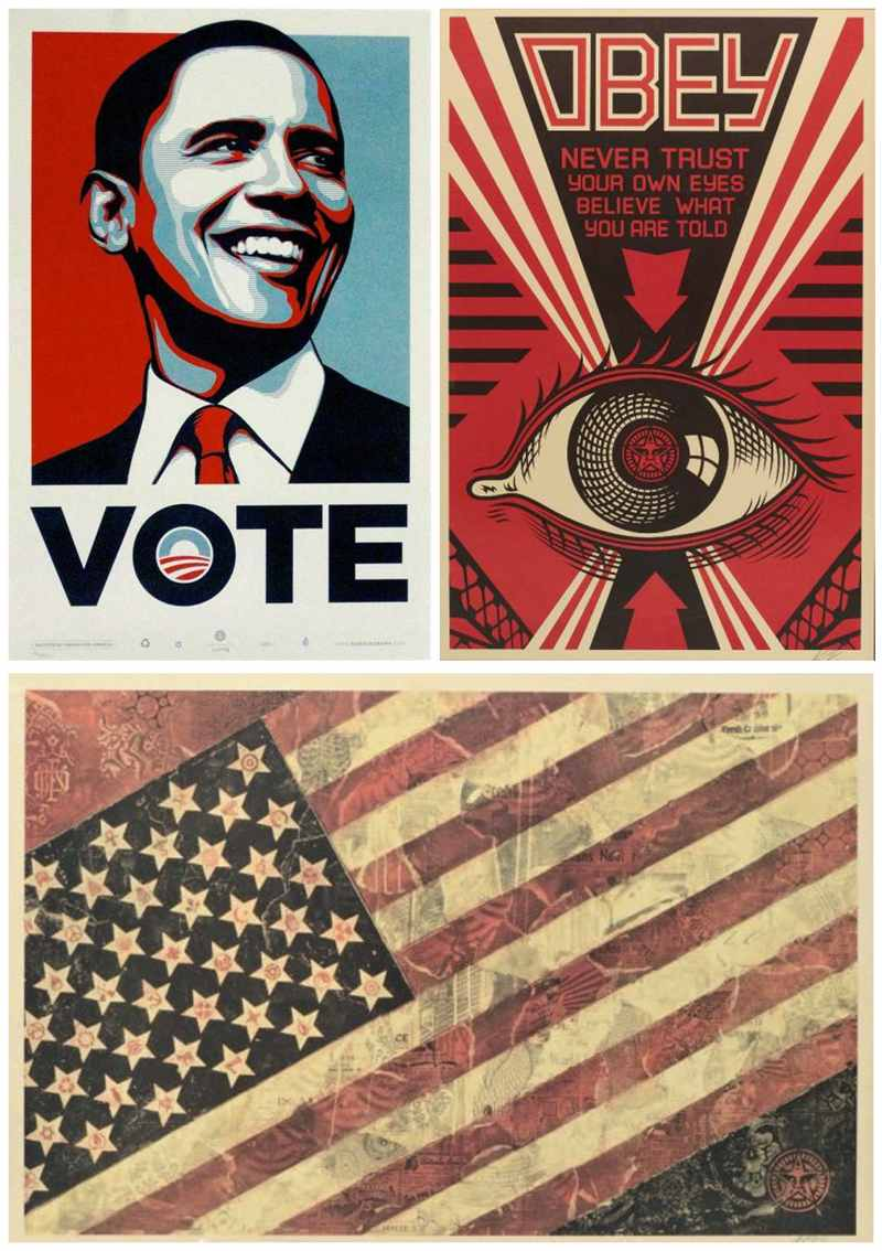 Shepard Fairey-Obey Eye/Vote/Head/Flag-