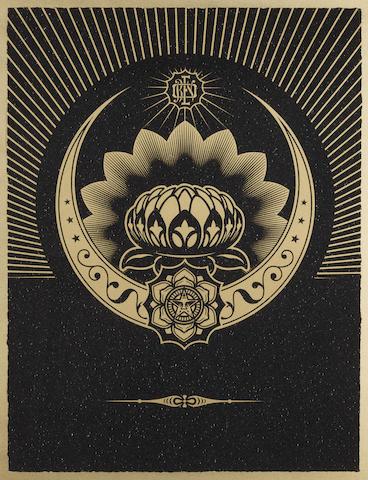 Shepard Fairey-Obey Lotus Crescent (Black & Gold)-2013