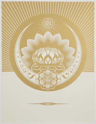 Shepard Fairey-Obey Lotus Crescent (White & Gold)-2013