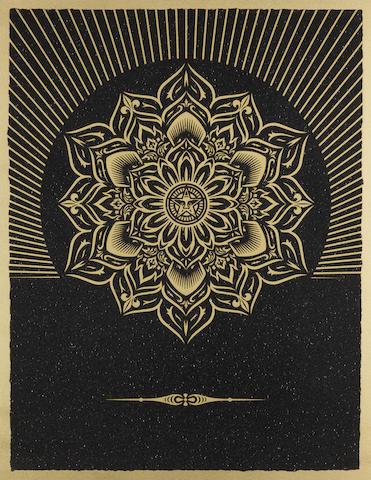 Shepard Fairey-Obey Lotus Diamond (Black & Gold)-2013