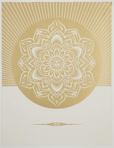 Shepard Fairey-Obey Lotus Diamond (White & Gold)-2013