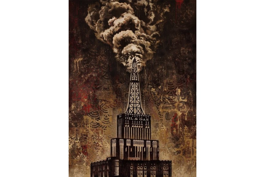 Shepard Fairey - Oil and Gas Building, 2014