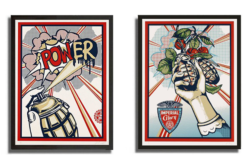 Shepard Fairey - POWER 2010 and IMPERIAL GLORY 2011 inspired by Roy Lichtenstein style