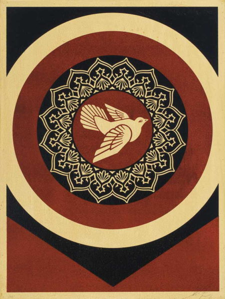 Shepard Fairey-Peace Dove Black and Red on Wood-2011