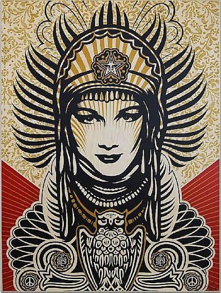 Shepard Fairey-Peace Goddess on Wood-2008