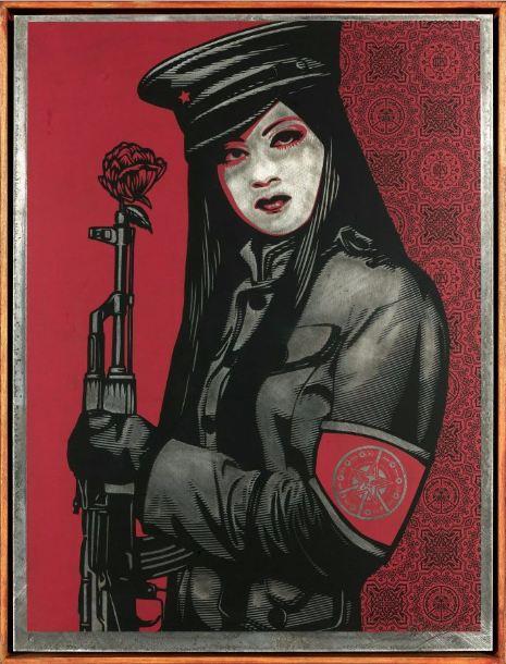 Shepard Fairey-Peace Guard on Metal-2010