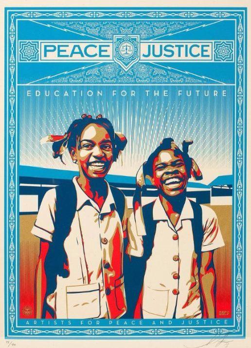 Shepard Fairey-Peace and Justice - HAITI-2012