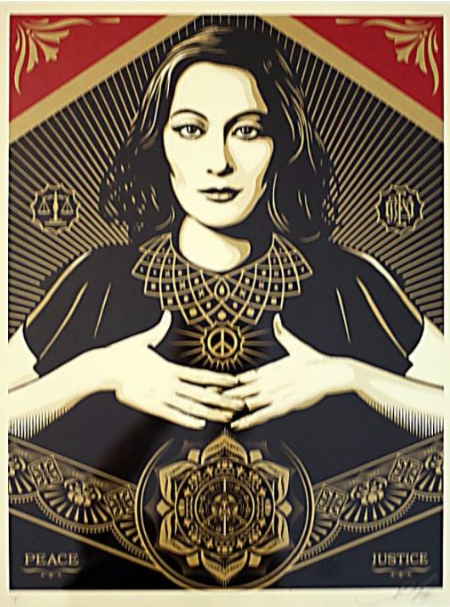 Shepard Fairey-Peace and Justice Woman-2013