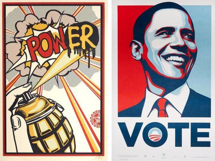 Shepard Fairey-Pow(Er); Obama Vote-