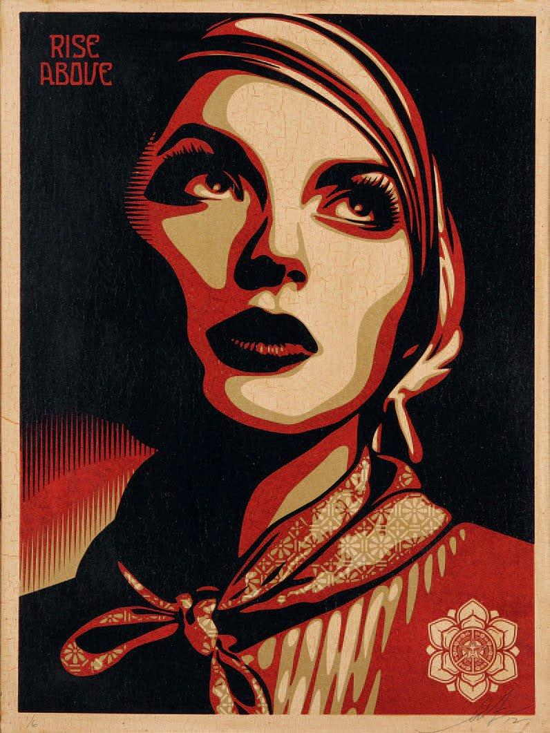 Shepard Fairey-Rise Above Rebel on Wood-2012