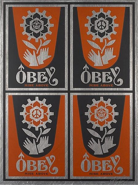 Shepard Fairey-Rise Above Stamp on Metal-2006