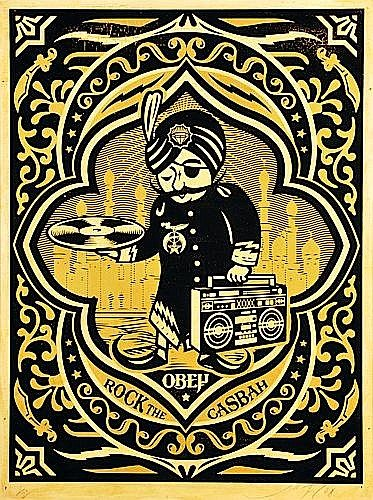 Shepard Fairey-Roch the Casbah (Black and Gold)-2008