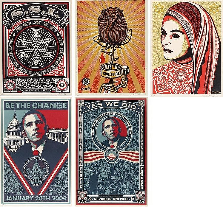 Shepard Fairey-Rose shackle; Sonic solutions incorporated; Peace woman; Yes we did; Be the change-2009