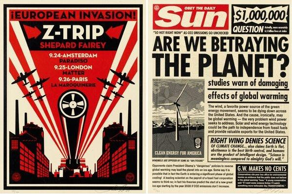 Shepard Fairey-Sun Paper Print / Z-Trip-2009