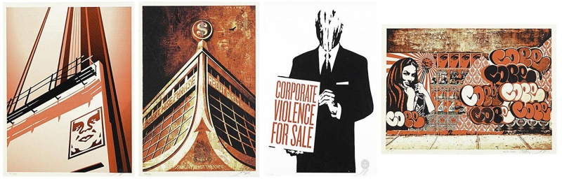 Shepard Fairey-Sunset & Vine Billboard - Corporate Violence for Sale - Glass Houses Canvas Print - Obey x COPE2 x Cooper Print-