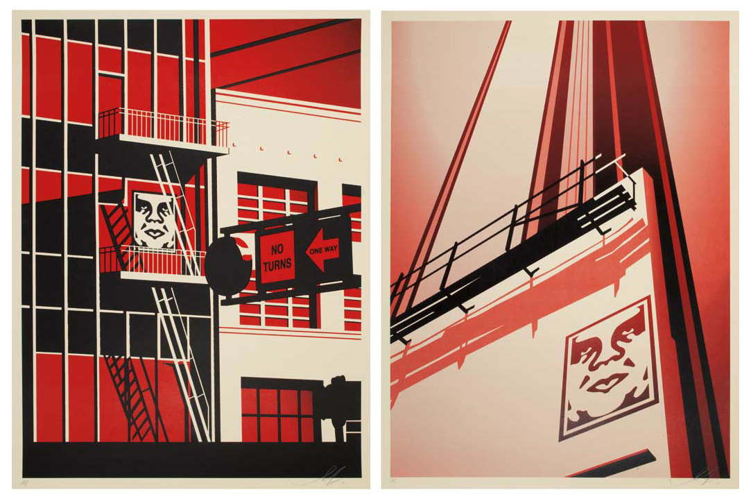 Shepard Fairey-Sunset & Vine Billboard - SF Fire Escape-2011