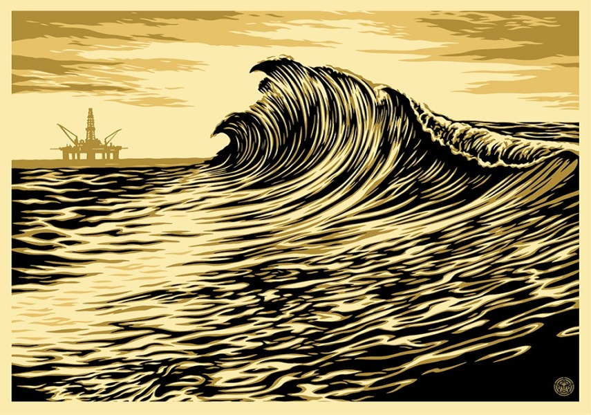 Shepard Fairey -Water Is The New Black Wave, signed numbered screen print, august 25 2015, wall canvas