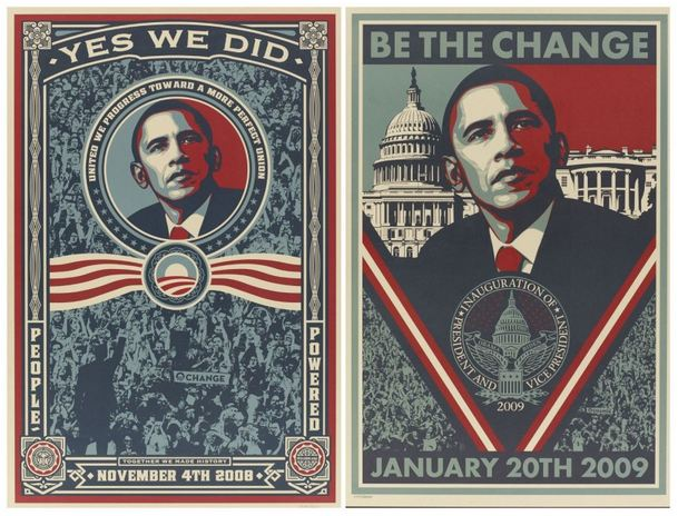 Shepard Fairey-Yes We Did!/Be the Change-
