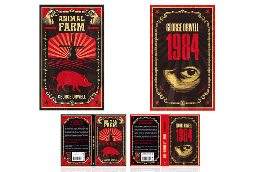 Shepard Fairey's designs of George Orwell's Animal Farm and 1984 for Penguin Edition
