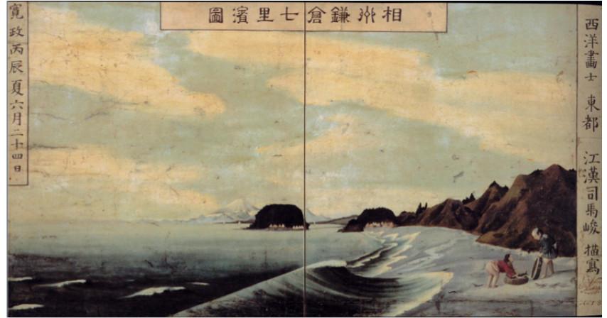 Shiba Kokan Beach in Kanagawa Woodblock Prints