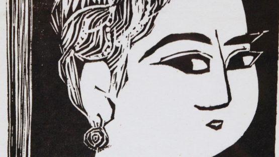 Shiko Munakata - WOODBLOCK PRINT OF FEMALE (detail)
