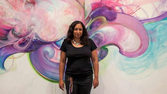 Shinique Smith stands in front of Majesty, a work that she created in 2012, contemporary art, installation, sculpture