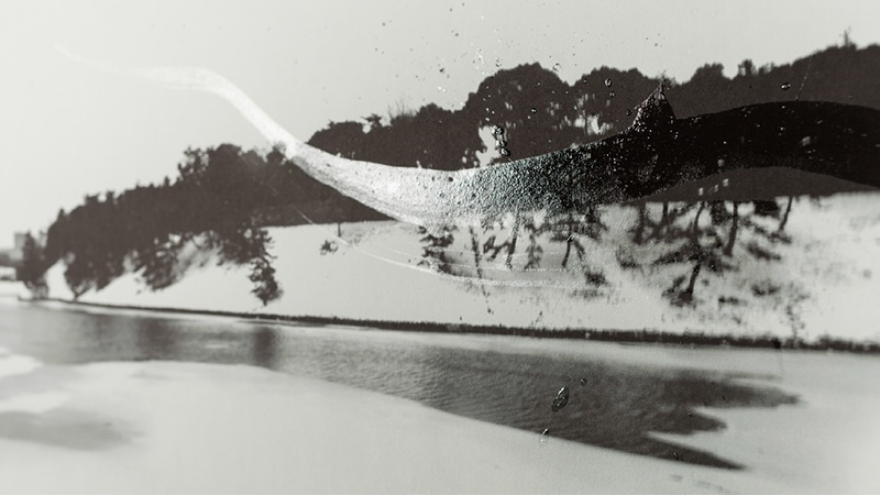 Shun Kawakami - Snow Landscapes Tokyo 4, Photograph on Washi paper with Translucent Sumi Calligraphy by Gen Miyamura. 2015