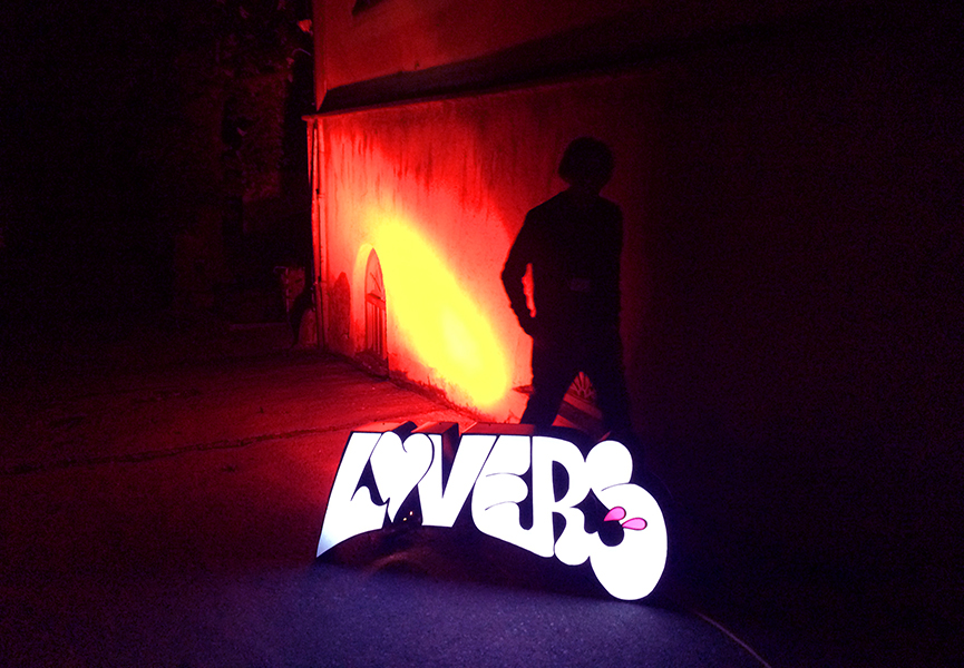 "Sickboy - 'Optical Dellusions' light sculpture ""Lovers"""