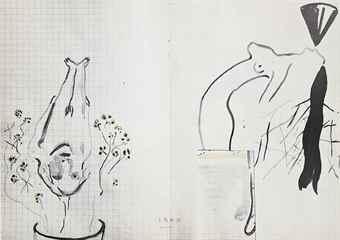Sigmar Polke-Blumentopf, Notenschlussel and Spazierstock-1985