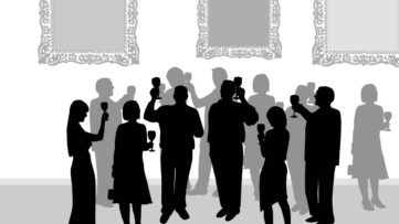 Silhouettes of People at an Art Exhibition - search and use our social media blog in time