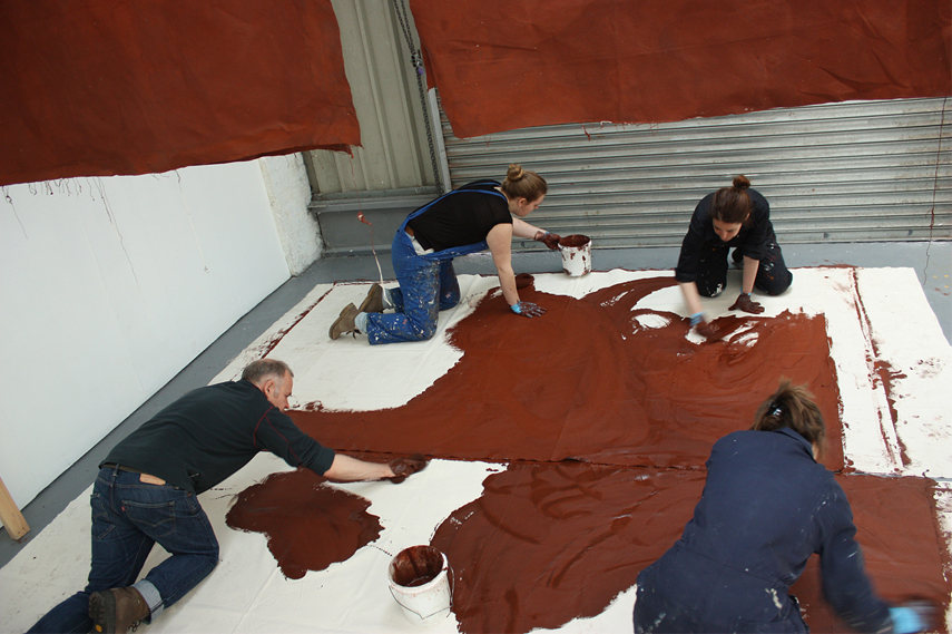 Simon Callery - Staining Canvas - Working with Students from UAL Wimbledon