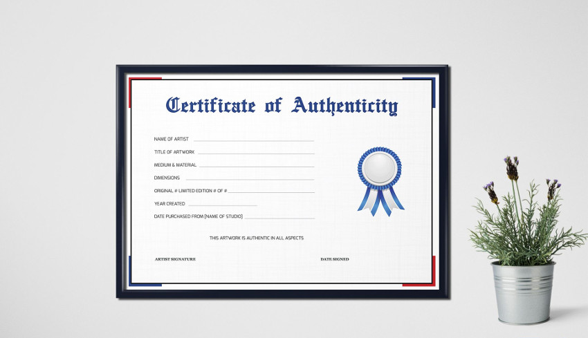 Simple Certificate of Authenticity Template