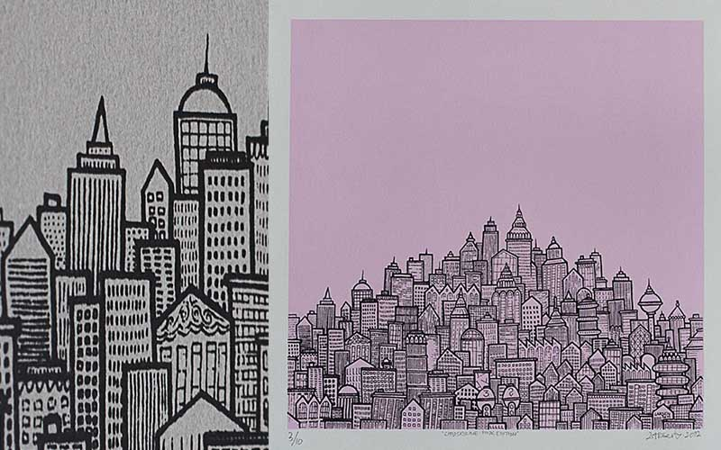 SinnSykShit - City Skyline pink, 2012