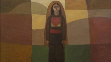 Sliman Mansour - Girl in the Village (detail), 1982
