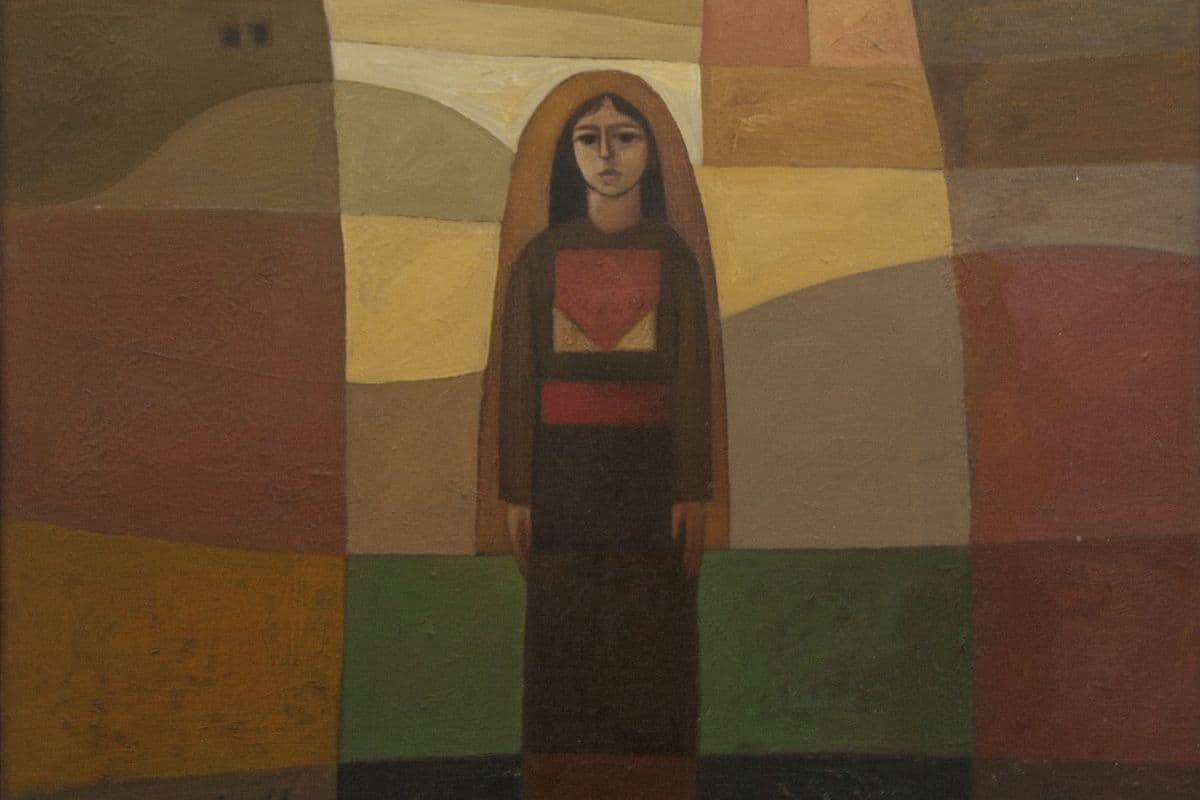 Sliman Mansour - Girl in the Village (detail), 1982