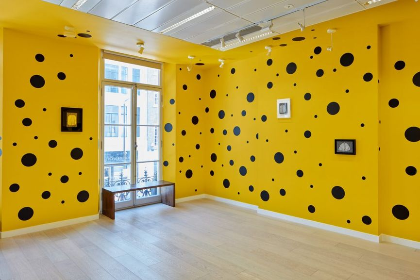 Small Pumpkin Paintings by Yayoi Kusama; her art was on view in 2017
